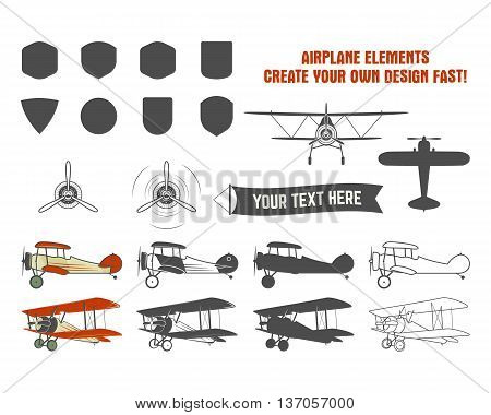 Vintage airplane symbols. Biplane graphic labels. Retro Plane badges, design elements. Aviation stamps collection. Fly propeller, old icon, shield isolated on white background.