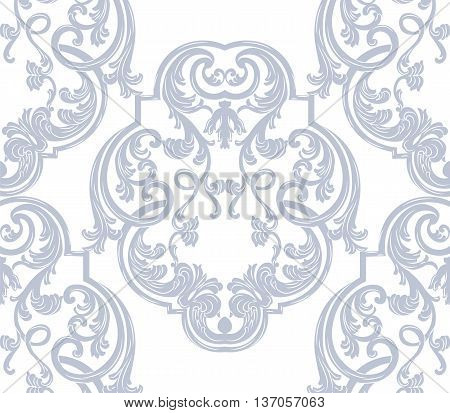 Luxurious Glamorous Baroque Rococo Ornament pattern. Vector French Luxury rich carved ornaments for fabric textures. Victorian luxury Style pattern ornament