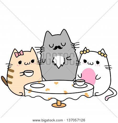 Two Cats' Memories: Happy Family Tea Time. Creative Idea, Innovative art, Concept Illustration, Greeting Card, Cartoon Style Artwork