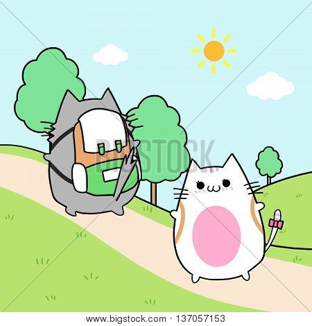 Two Lover Cats' Memories: Hiking Together. Creative Idea, Innovative art, Concept Illustration, Greeting Card, Cartoon Style Artwork