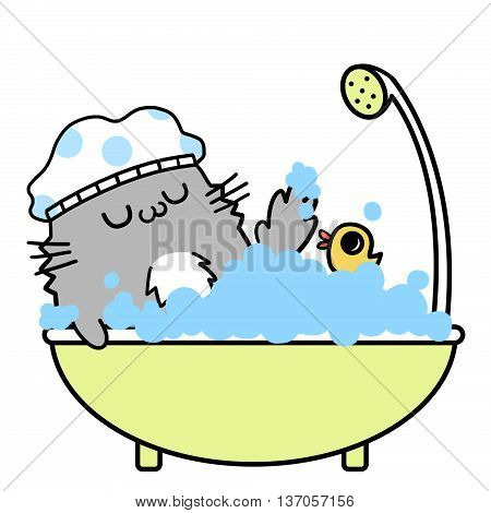 Cats' Memories: Take a Happy Bath. Creative Idea, Innovative art, Concept Illustration, Greeting Card, Cartoon Style Artwork