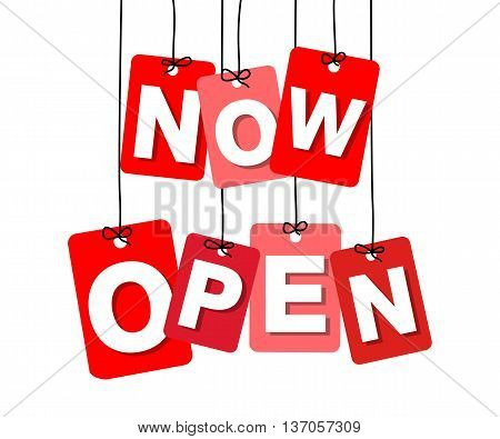 Vector colorful hanging cardboard. Tags - now open on white background