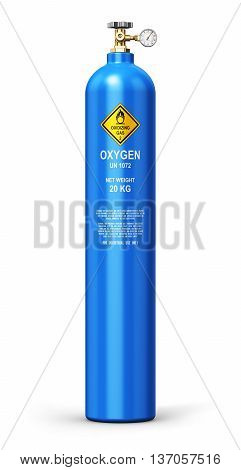 3D render illustration of blue metal steel liquefied compressed natural oxygen gas container or cylinder for welding or medical use with high pressure gauge meter and valve isolated on white background