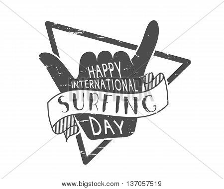 Summer surfing day tattoo design. Vector Vacation monochrome design typography print emblem. Surfer party with surf symbol - shaka sign. Best for web design or print on t-shirt.