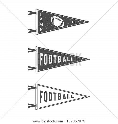 College Football Pennant Flags Set. Football pendant Icons. University USA Sport flag, isolated. Training camp emblem. Soccer label element. Monochrome design template. sign.