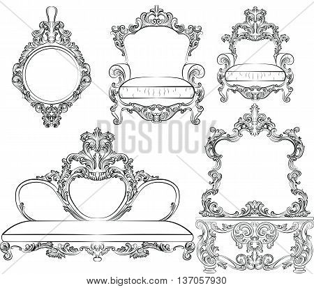 Vector great collection of Baroque style armchairs furniture. Big Vector set of Antique Royal furniture. different rich detailed ornamented armchairs