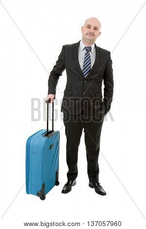 Full length of young businessman with luggage isolated on white background