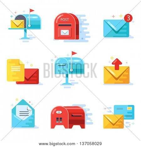 Mail and correspondence delivery icons, flat design, vector illustration of mailbox
