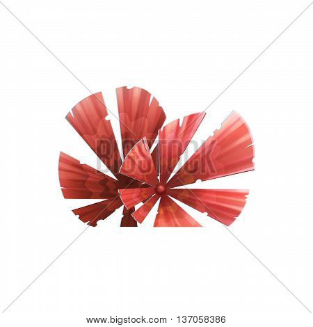 Red Leaf Fan Plant. Video Game Assets, Objects; Story Card Illustration Pieces isolated on White Background
