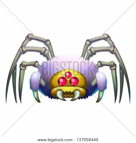 Bird Spider Creature. Animal Monster Mascot Character Design isolated on White Background