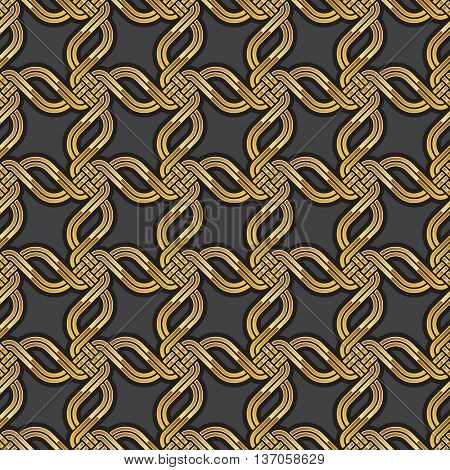 Shiny gold Celtic seamless pattern. Abstract vintage Art Deco style geometric wallpaper. illustration