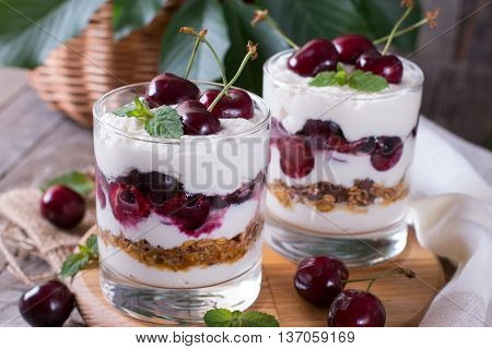 Dessert with cherries and granola in a glass