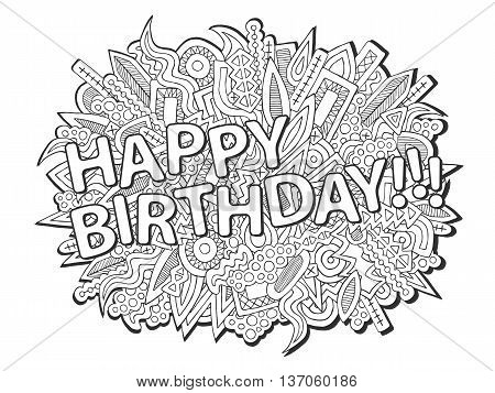 Doodles Happy Birthday Abstract Elements Ornament Black