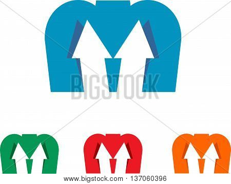 logo letter M with arrow up for business