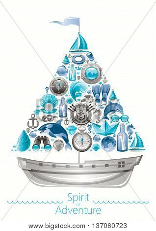 Sea summer travel banner invitation design with sail boat and icon set. Yachting coat of arms, compass rose, binoculars, killer whale, porthole, message in bottle, yacht, sailing ship, moon, lifebuoy