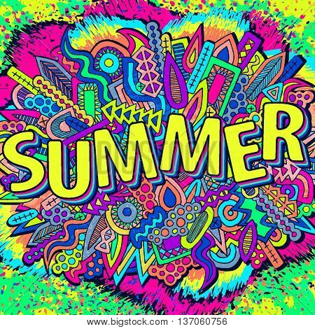 Doodle Abstract Ethnic Elements Summer Ornament Bright