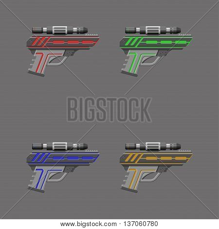 Video game weapon. Virtual reality device. Pistols set. Vector illustration