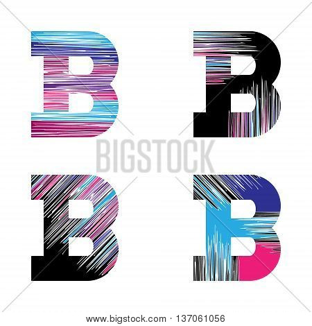 Letter B set. Vector graphic alphabet symbol in grunge style. Design template elements.