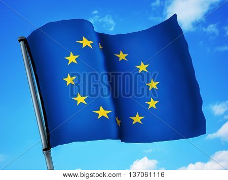Flag EU and sky (done in 3d rendering)
