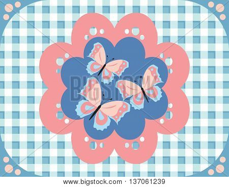 Butterflies gingham pattern fabric . Vector illustration