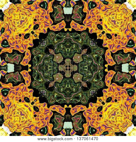 Kaleidoscopic ornamental color pattern abstract floral background