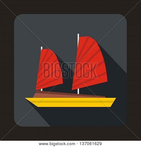Vietnamese junk boat icon in flat style with long shadow. Shipbuilding symbol