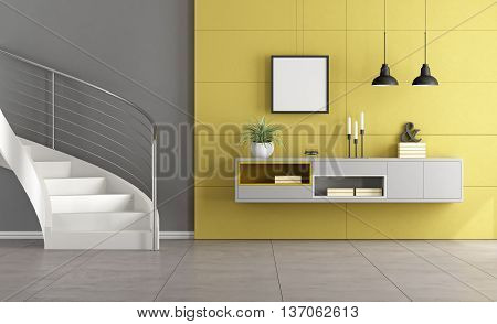 White Stair In A Living Room