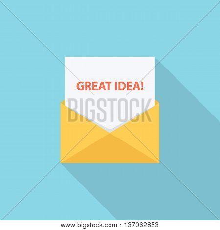 """Great idea!"" letter, email or message. Flat style vector Illustration."