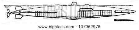 Morse, underwater electric, vintage engraved illustration. Industrial encyclopedia E.-O. Lami - 1875.