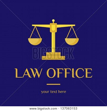 Law office logo. The judge, Law firm logo template, lawyer set of vintage labels. Gold scales Themis. Dura lex, sed lex quote. On blue background