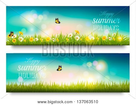 Happy summer holidays banner with flowers, grass and butterflies. Vector.