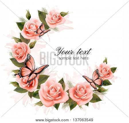Holiday background with beauty flowers and butterflies. Vector.