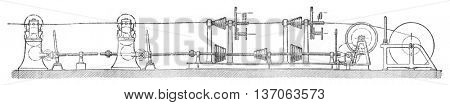 Machine cover rubber and ribbon, vintage engraved illustration. Industrial encyclopedia E.-O. Lami - 1875.