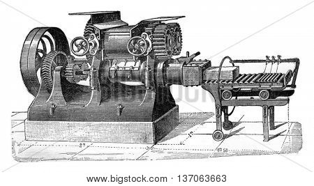 Machine with two propellers, vintage engraved illustration. Industrial encyclopedia E.-O. Lami - 1875.
