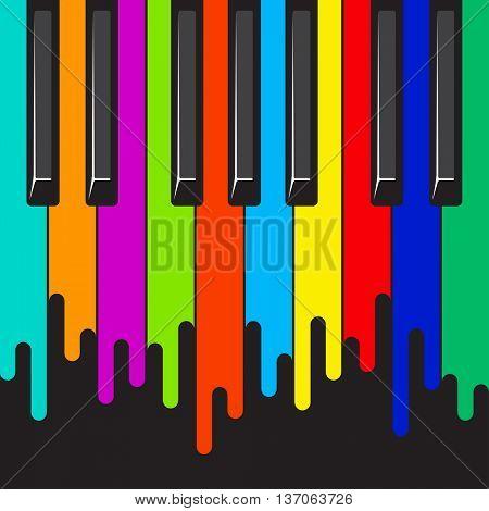 Rainbow paint flows piano keyboard