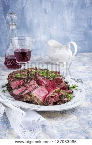 Sliced Porterhouse Steak on Plate