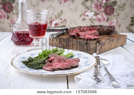 Barbecue Entrecote Steak with Green Asparagus