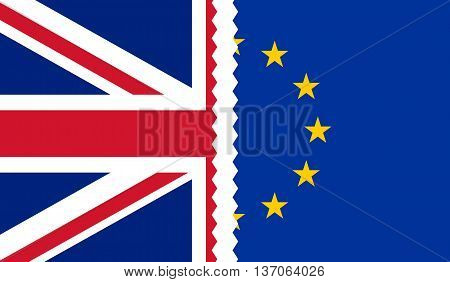 Brexit. Illustration of UK and EU flags teared apart in the middle