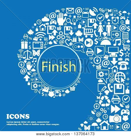 Finish Sign Icon. Power Button . Nice Set Of Beautiful Icons Twisted Spiral Into The Center Of One L