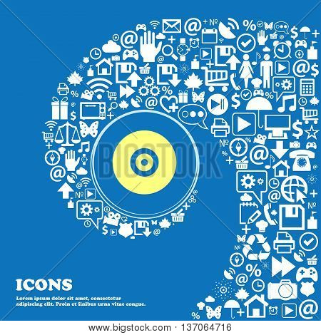Cd Or Dvd Sign Symbol. Nice Set Of Beautiful Icons Twisted Spiral Into The Center Of One Large Icon.