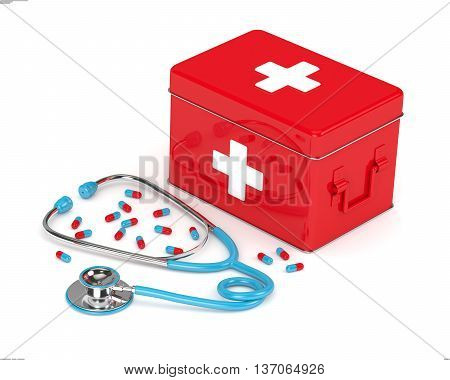 3D Rendered First Aid Kit, Stethoscope And Pills Over White