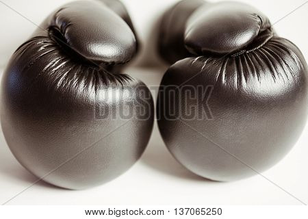 View of boxing gloves on white background