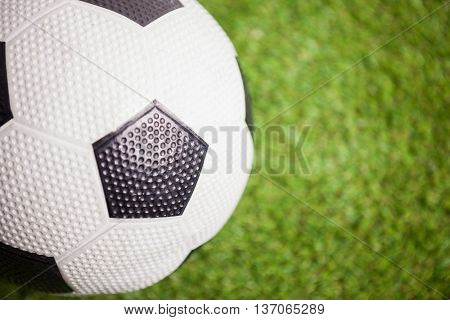 Close up of soccer ball on field