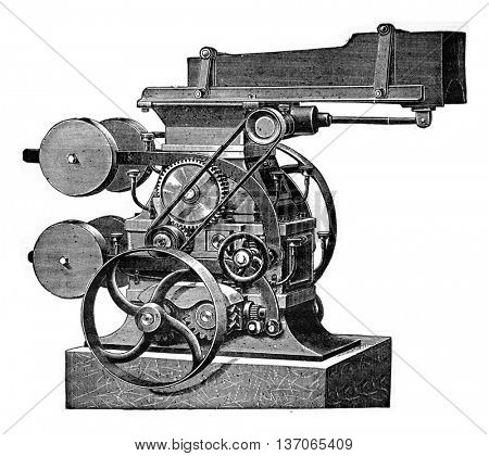 Crusher four-cylinder, vintage engraved illustration. Industrial encyclopedia E.-O. Lami - 1875.