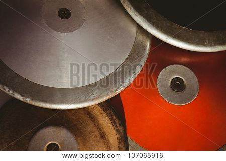 Close up of several discus on a table