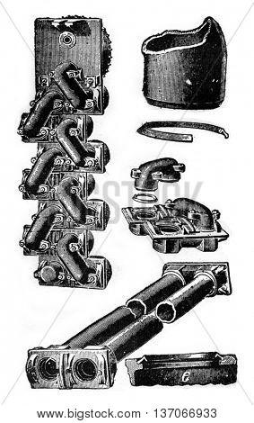 Boiler Root, vintage engraved illustration. Industrial encyclopedia E.-O. Lami - 1875.