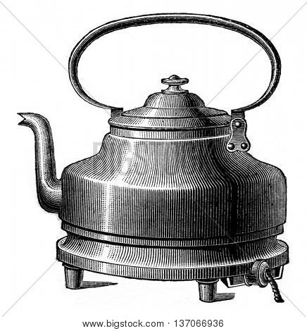 Heating kettle, vintage engraved illustration. Industrial encyclopedia E.-O. Lami - 1875.