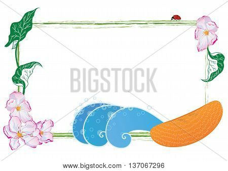 vector frame with apple flower and fruit (EPS 10)