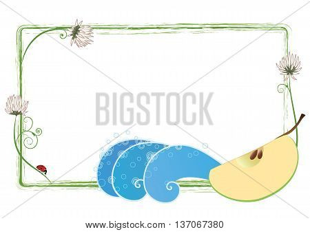 vector frame with clover flowers apple and ladybird