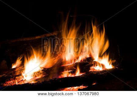abstract flame of hot fire in dark